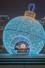 Preview iPhone wallpaper Huge Christmas ball, holiday lights, night, Paris, France