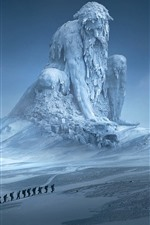 Preview iPhone wallpaper Huge statue, snow, winter, moon, art picture