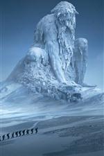 iPhone fondos de pantalla Enorme estatua, nieve, invierno, luna, imagen artística