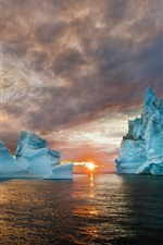 Preview iPhone wallpaper Iceberg, sea, sunset, nature landscape