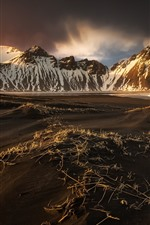Preview iPhone wallpaper Iceland, mountains, beach, dusk