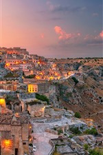 Italy, Matera, Basilicata, city, dusk, lights