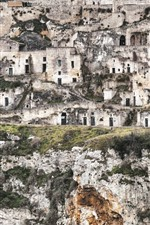iPhone fondos de pantalla Italia, Matera, Basilicata, residencia de gruta, ruinas