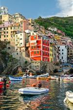 Preview iPhone wallpaper Italy, Riomaggiore, houses, boats, sea, coast
