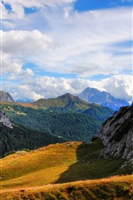 Preview iPhone wallpaper Italy, South Tyrol, mountains, grass, trees, clouds