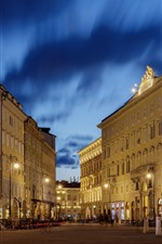 Preview iPhone wallpaper Italy, Trieste, city night, street, buildings, lights
