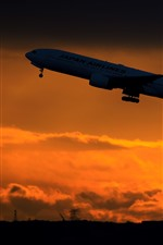 Preview iPhone wallpaper Japan Airline, Boeing 777-200 passenger plane, silhouette