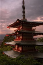 Preview iPhone wallpaper Japan, temple, Fuji Mount, clouds, dusk