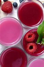 Juice, cups, raspberry, blueberry
