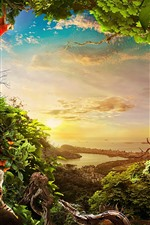Preview iPhone wallpaper Jungle, many animals, plants, city, sea, sunshine
