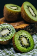 Kiwi, cortado, verde, fruta fresca