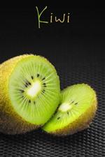Kiwi, green, black background