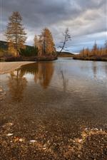 Kolyma, river, trees, autumn, clouds