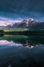 Preview iPhone wallpaper Lake, morning, mountains, water reflection
