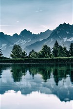 Preview iPhone wallpaper Lake, mountains, water reflection, nature landscape