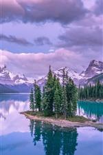 Lago, árvores, montanhas, nuvens, reflexão da água