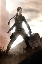 Preview iPhone wallpaper Lara Croft, Tomb Raider, girl, gun