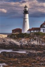 Lighthouse, rocks, sea