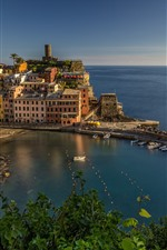 Preview iPhone wallpaper Ligurian Sea, harbour, Italy, city, boats