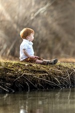 Preview iPhone wallpaper Little boy and ducks, water