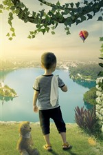 Preview iPhone wallpaper Little boy, teddy, lake, island, owl, creative design