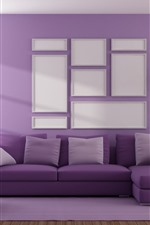 Preview iPhone wallpaper Living room, sofa, purple style