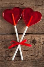 Preview iPhone wallpaper Lollipop, red love heart