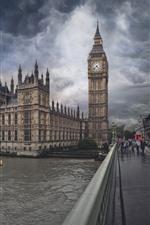 Preview iPhone wallpaper London, Big Ben, river, bridge, storm, lightning, clouds, England