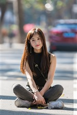 Preview iPhone wallpaper Long hair Chinese girl sit on ground