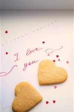Preview iPhone wallpaper Love heart cookies, coffee, cup