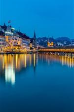 Preview iPhone wallpaper Lucerne, Reuss River, bridge, lights, night, Switzerland