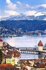 Preview iPhone wallpaper Lucerne, Switzerland, city, river, bridge, houses, mountains