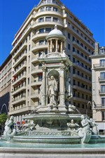 Preview iPhone wallpaper Lyon, France, city, statue, monument, fountain