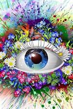 iPhone fondos de pantalla Ojo mágico, flores, tierra, colorido, diseño creativo.