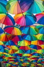 Preview iPhone wallpaper Many colorful umbrellas, city street