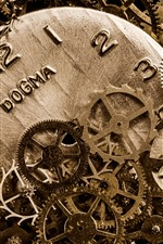 Preview iPhone wallpaper Many gears, clock