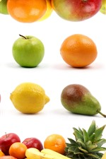 Preview iPhone wallpaper Many kinds fruit, apples, oranges, bananas, pears, lemons, pineapples