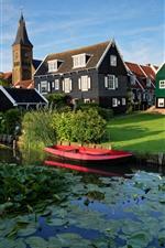 Preview iPhone wallpaper Marken, Netherlands, village, houses, river, grass
