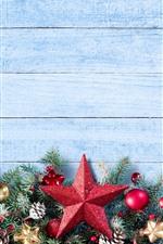 iPhone fondos de pantalla Feliz Navidad, estrellas, bolas, decoración.