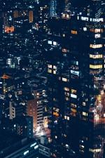 Minato, city, houses, lights, night, Japan