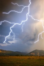 Preview iPhone wallpaper Mountains, grass, clouds, lightning, storm