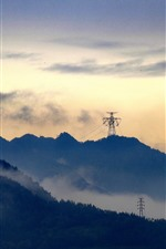 Preview iPhone wallpaper Mountains, power lines, clouds, dusk