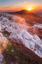 Mountains, rocks, forest, sunrise, sun rays, morning