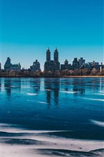 Preview iPhone wallpaper New York, Central Park, lake, buildings, city, USA