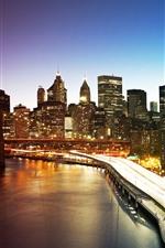 Preview iPhone wallpaper New York, Manhattan, skyscrapers, river, bridge, lights, city, night, USA