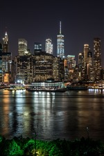 Preview iPhone wallpaper New York at night, city, river, skyscrapers, lights, USA