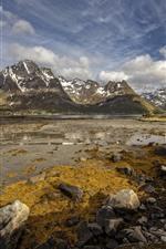 Preview iPhone wallpaper Norway, Lofoten, Laupstad, mountains, rocks, river