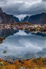 미리보기 iPhone 배경 화면 노르웨이, 도시, 호수, 산