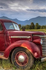 Preview iPhone wallpaper Old truck, fields