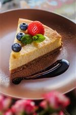 One slice cake, berries, blueberry, fork